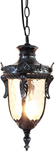 De estilo europeo colgante impermeable al aire libre enciende la lámpara pasillo cenador del jardín de la cadena de la vendimia del ático focos regulables en la puerta de aluminio,Black