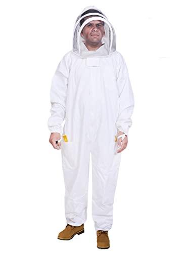 BeeAttire Bienenanzug mit einfachem Zugang, Baumwolle, dick, stichloser Schutz, Pro-Imker-Anzug, Imkerkostüm für Erwachsene, mit YKK-Reißverschlüssen, 4X-Large, weiß, 1
