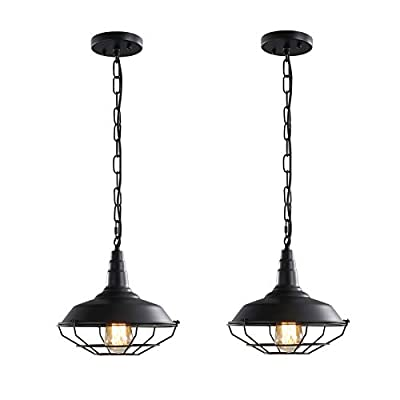 """Black Industrial Pendant Lighting 2 Pack D10.23"""" Vintage Farmhouse Pendant Light Fixtures with Metal Wire Cage, Retro Adjustable Chain Cage Hanging Light for Kitchen Barn Hallway Porch Bar Stairs"""