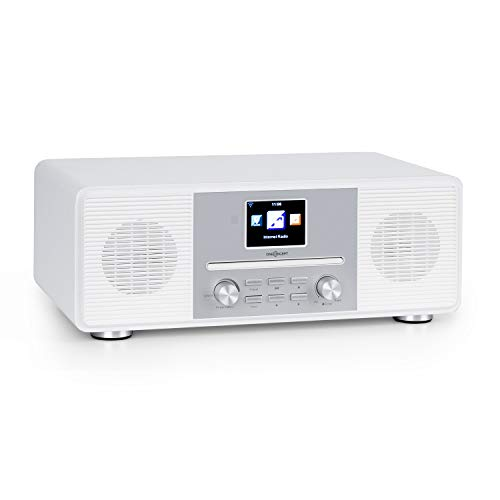 oneConcept Streamo CD Internetradio, Radioempfang per WLAN, DAB/DAB+ und UKW, 2 x 10 W RMS, Bluetooth, CD-Player, Anschlüsse: AUX-IN, Kopfhörer, 2,8' HCC Display, inkl. Fernbedienung, weiß