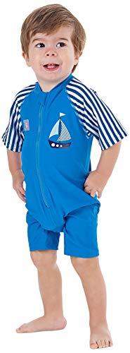 Juicy Bumbles UV Badeanzug Kinder Badehose Jungen - UV Schutz Schwimmanzug - Einteiliger UV Schutzkleidung Kurzarm Sonnenanzug UPF50+ Segelboot - Jungen 3-4 Jahre