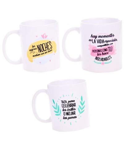 Lote de 24 Tazas Frases Mejores Deseos - Tazas para Detalles Originales para Invitados de Bodas, Regalos Baratos para Comuniones y Cumpleaños Infantiles