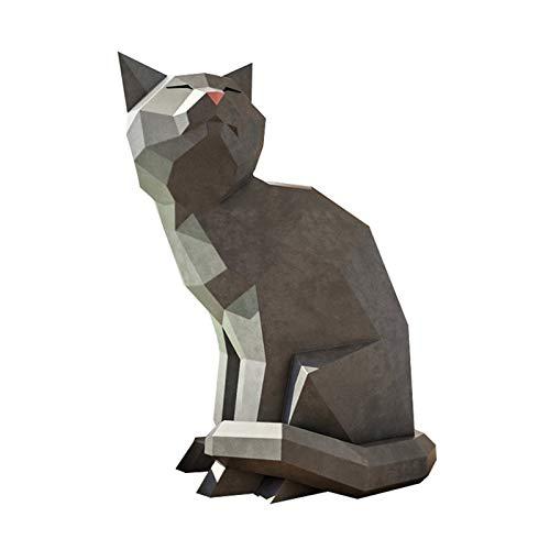 Papercraft DIY 3D gatitos papel animales decoración de pared Papercraft Building Kit Origami papel modelo ornamental DIY juguete para niños pequeños (tablero nacarado)