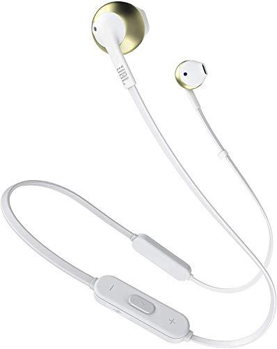 Fone de Ouvido JBL in-Ear Bluetooth Tune 205 Gold - Microfone Embutido, Compatível com Android e iOS