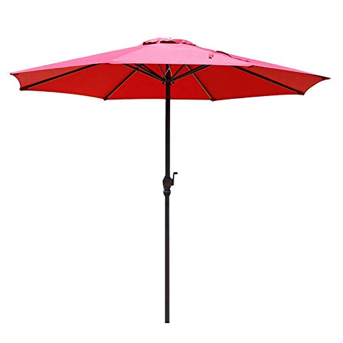 Guarda-chuva, guarda-chuva para jardim ao ar livre | 2,7 m | com manivela/redonda/proteção UV/chuva anti-luz, sombra solar compacta para praia/gazebo/varanda/terraço/mesa de café/pesca/mercado-sem baixo