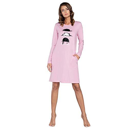 Damen warme Nachthemd Nachtwäsche aus Baumwolle Rundhals Lässige Schlafhemd Sleepshirt Sleepwear Schlafanzug Model Herbst und Winter 2020 (XXL, Rosa)