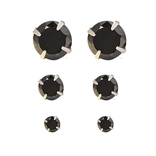 YOURDORA 3 Pares Plata de Ley 925 Pendientes Tous Mujer con Cristal de Austria Sencillo Joyería Elegante 3mm 5mm 7mm (Negro)
