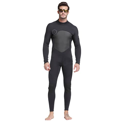 DIMPLEYA Traje de Neopreno para Hombres de 3 mm de Neopreno Hombres Jóvenes Cuerpo Completo Ultra Estiramiento Manga Larga Cremallera Plaza de Buceo para Snorkeling Scuba Diving Natación,M