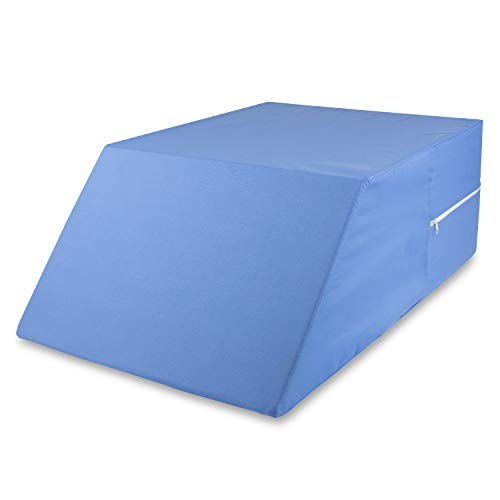 MABIS DMI Healthcare DMI Bed Wedge Pillow for Sciatica, Pregnancy, Back, Leg or Hip Pain made of Memory Foam with Washable Cover, 30 x 20 x 10, White, Blue