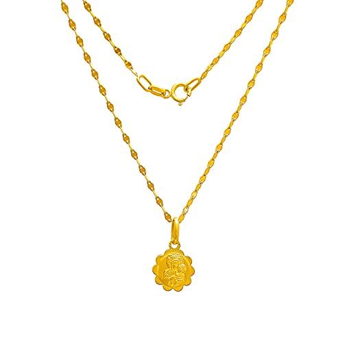 Collar de oro amarillo 333 de 8 quilates, cadena con colgante de flor, Virgen María y Madonna, grabado para mujer, niña o niño