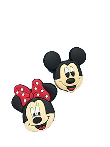 2 abalorios de Mickey Mouse y Minnie Mouse para pulseras Crocs y Jibbitz