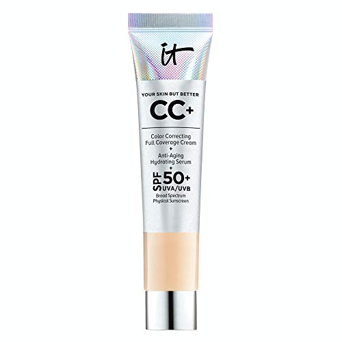 IT Cosmetics Your Skin But Better CC+ Cream Travel Size, Light (W) - Color Correcting Cream, Full-Coverage Foundation, Hydrating Serum & SPF 50+ Sunscreen - Natural Finish - 0.406 fl oz
