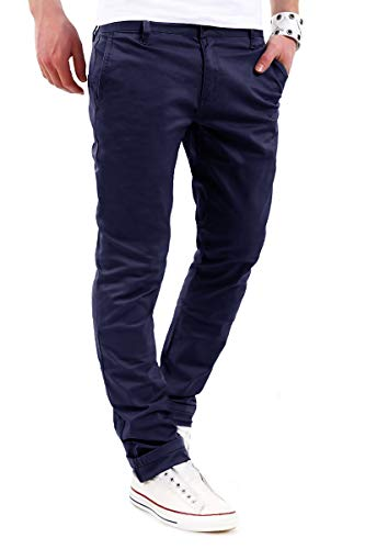 behype. Herren Basic Chino Jeans-Hose Stretch Regular Slim-Fit 80-0310,Marine,34W / 32L