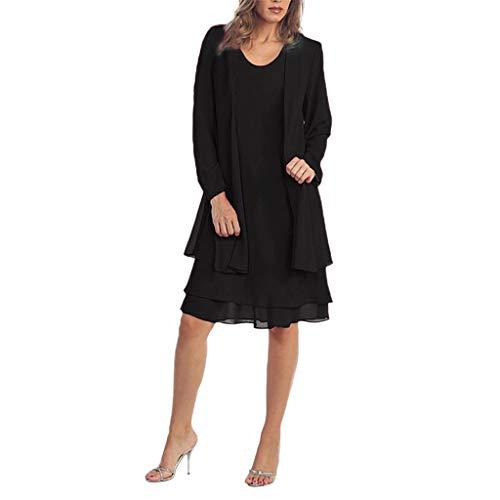 Vestidos Conjuntos ღSUNNSEANღ Chaqueta Vestidos Elegante Color Liso Casual Vestido de 2 Piezas, Manga Larga, con Paneles de Gasa Vestidos de Oficina Faldas Abrigos Mujer Blazer Vestido de Fies
