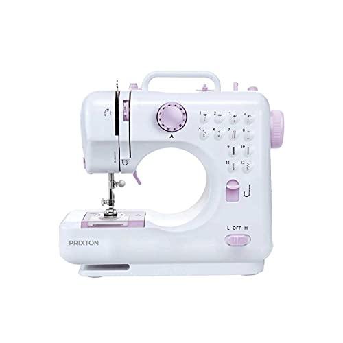 PRIXTON - Mini Macchina da cucire portatile / Macchina da Cucire con cassetto per accessori, lampada...