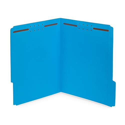 50 Fastener File Folders - 1/3 Cut Reinforced Tab - Durable 2 Prongs Designed to Organize Standard Medical Files, Law Client Files, Office Reports - Letter Size, 50 Pack (Blue)