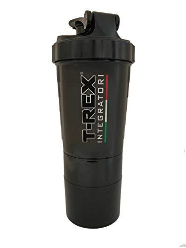 Shaker da 500ml T-REX INTEGRATORI | Per Proteine con Filtro Anti Schiuma e Anti Grumi Multi-Scompartimenti con Porta Pillole e Porta Polvere