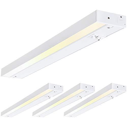 TORCHSTAR LED Under Cabinet Light, 12 Inch, 8W, Dimmable, Linkable, 3 Color Levels - 3000K/4000K/5000K, Hardwired or Plug-in, 120V, ETL & Energy Star, White Finish, Pack of 4
