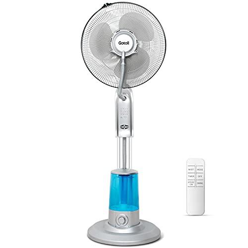 Gotoll Ventilador Nebulizador,Ventilador de Pie de 40 cm,Ventilador Agua Pulverizada con 3 Velocidades,3.2L,Temporizador 7,5h,Oscilante,Motor de Cobre,75W,Oscilación Automática, Orientación Ajustable