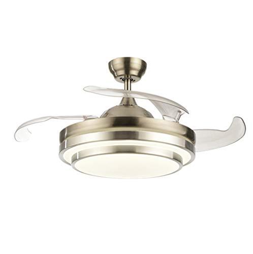 MG REAL 36 Zoll Modernes LED Unsichtbares Fernbedienung Ventilator Licht Für Wohnzimmer Schlafzimmer Esszimmer, Silber/Gold, Schweigen,Silber