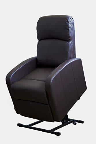 Astan Hogar AH-AR30620CH Premium Confort Coomodo - Sillón Relax Con Función Auto-Ayuda (Levanta Personas), Reclinación Eléctrica, Tapizado en PU Anti-Cuarteo, Acero, CHOCOLATE