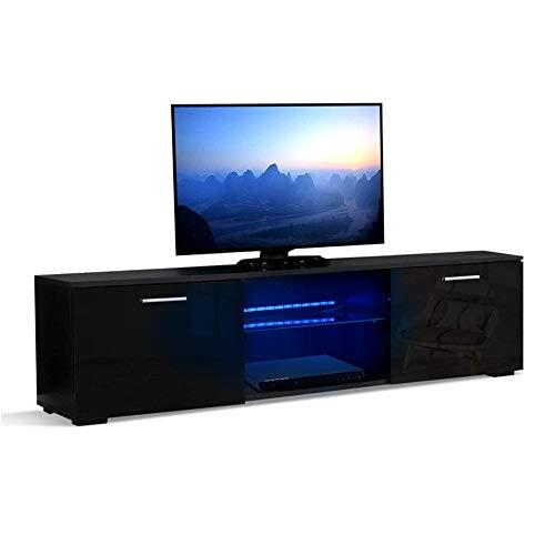 Mondeer Fernsehtisch, TV-Bank, TV-Schrank LED-Leuchte Spanplatt 160 x 30 x 38cm (Schwarz)