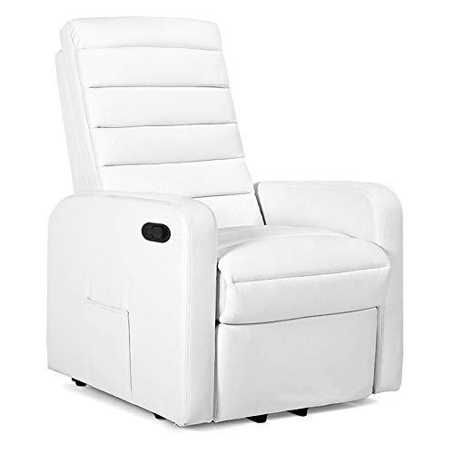 Gridinlux | Sillón Relax Masaje Lujo Blanco | Reclinable | Función Calor Lumbar | 5 Modos | 8 Motores | Mando de Control | 4 zonas de masaje | Polipiel