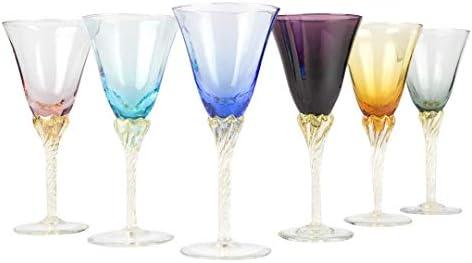 Juego de 6 vasos soplados de cristal de Murano OMG Limoncello