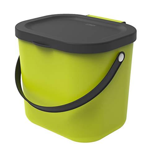 Rotho - Pattumiera Albula da Cucina, in plastica (PP), 6 l, Colore: Cappuccino/Antracite, plastica (PP), Verde Chiaro/Antracite, 6 Liter (23,5 x 20 x 20,8 cm)