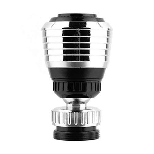 JIE 360 ° Girar el Grifo Difusor de Extremo Giratorio Ahorro de Agua Filtro Adaptador Anti-Salpicaduras Plata y Negro