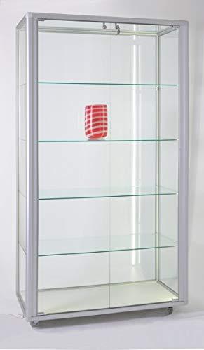 MHN Vitrina expositora grande de cristal iluminada con candado, 99 x 55 cm, sobre ruedas