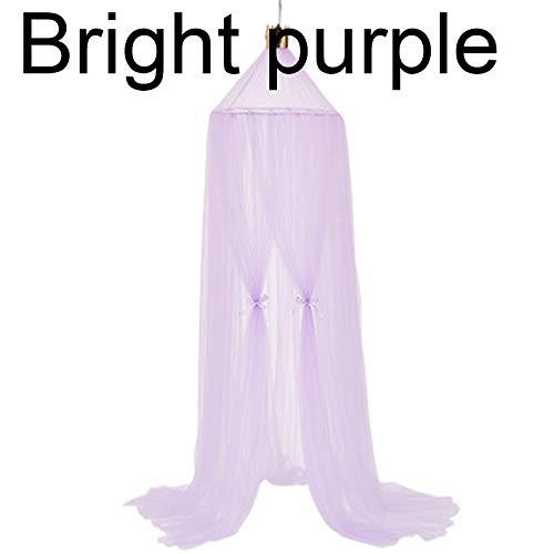 WSH-WENZHANG, Lit de bébé Canopée Moustiquaire Dôme Rêve Rideau Tente Bébé Berceau en Filet Rond Accroché Enfants Canopée Tente Enfants Chambre Décor (Color : Bright Purple)