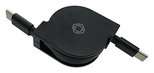 [ krow ] USB-C & USB-C 巻き取り式 充電 & データ転送 ケーブル 1m (ブラック 60W)