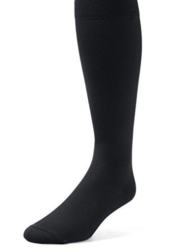 EMEM Apparel Mens Mild Graduated Compression Support Over the Calf Nylon Socks Hosiery 12-15 mmHg 2-Pack Black 10-13