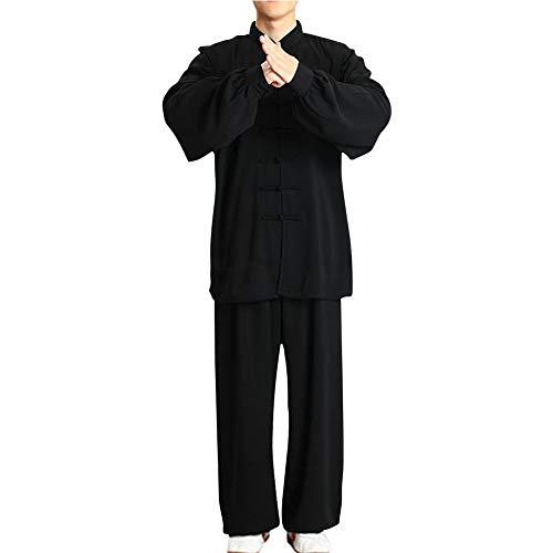 Yudesun Uniforme Tradicional Marciales Shaolin - Hombres Mujeres Chino Indumentaria Kung Fu Wing Chun Taekwondo Algodón Ropa de Entrenamiento Sets Negro XL