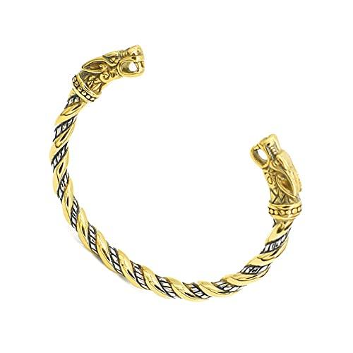 Brazalete de Manguito Vikingo de Cabeza de Lobo, Brazalete Abierto de Cabeza de Lobo de Doble Color Ajustable, Nordic Vintage Odin Fenrir Twisted Bangle Joyería Escandinava (Color : Gold)
