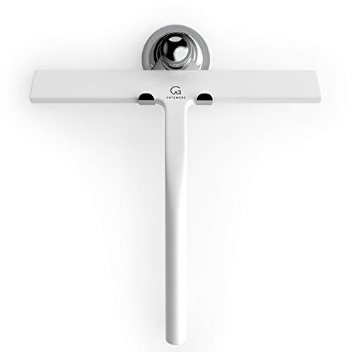GÜTEWERK Duschabzieher Set mit Haken - weiß 23 cm - ohne Bohren breiter Silikon Abzieher Dusche Bad Badezimmer Fenster Edelstahl Fensterabzieher Scheibenabzieher breit Saugnapf Halterung Badabzieher