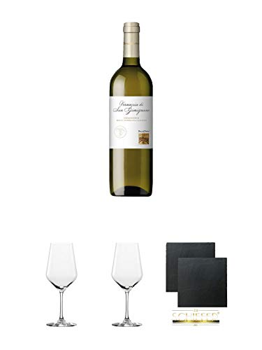 Teruzzi & Puthod Vernaccia di San Gimignano DOCG 0,75 Liter + Rotweinglas Stölzle - 3770001 + Rotweinglas Stölzle - 3770001 + Schiefer Glasuntersetzer eckig ca. 9,5 cm Ø 2 Stück