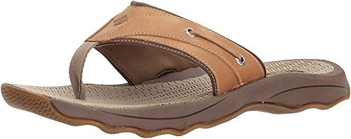 Sperry Mens Outer Banks Thong Sandals, Tan, 11