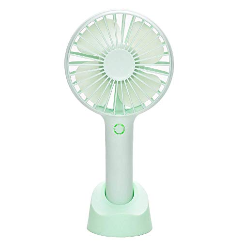 YIHUNION Mini Handheld Fan Portable , USB Rechargeable Battery Powered Fan with Base, 2500mAh Battery,4 Modes for Home Office Bedroom and Outdoor travel(Green)