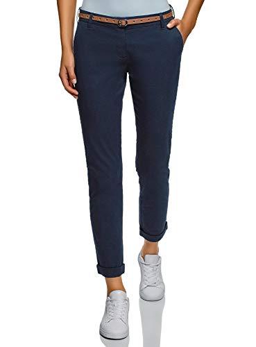 oodji Ultra Donna Pantaloni Chino con Cintura, Blu, IT 40 / EU 36 / XS