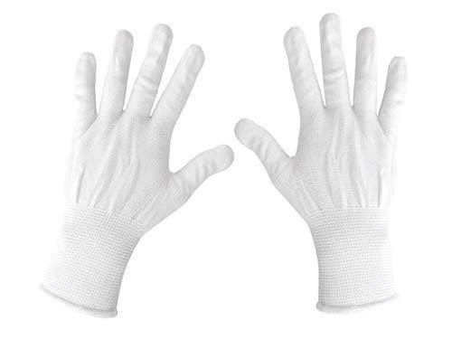 Schutzhandschuhe Stoff Handschuhe Alltag Stoffhandschuhe weiß Stretch kurz Gloves für Damen & Herren - One Size Größe