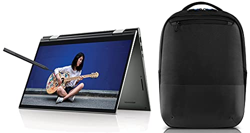 """Dell Inspiron 7415 14"""" FHD Touch Display 2in1 Laptop (R5 5500U / 8GB / 512GB SSD / Integrated Graphics / Win 10 + MSO / Backlit KB + FPR + Active Pen /Pebble Metal Color)+Dell Pro Slim Backpack 15"""