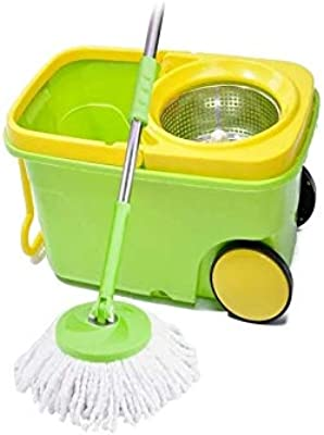 Apar Microfiber Spin 360 Degree Cleaning Mop with Easy Wheels and Bucket (Medium, Brown and Cream)