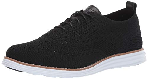 Cole Haan womens Originalgrand Stitchlite Wingtip Oxford Flat, Black Knit/Optic White, 9 US