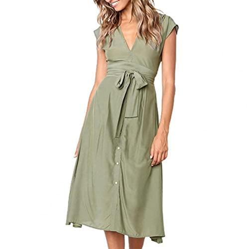 2021 New Summer Fashion Women Plus Size Dress Stripe Bow Tie Waist Summer V Neck Sleeveless Buttons Skirt Casual Dresses Dating