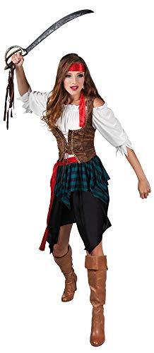com-four® Piraten-Kostüm für Erwachsene für Karneval, Motto-Partys und Kostümveranstaltungen 36/38 (Piratin Kostüm Gr. 36/38)