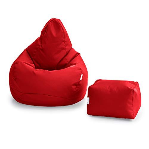 Loft 25 Poltrona da Gamer Bean Bag   Seduta A Sacco per Esterni E Interni   Resistente all'Acqua   Design Ergonomico per Il Supporto del Corpo (Rosso, Set di Sacchi di Fagioli)