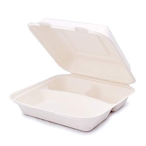 BIOQUQ Récipient de canne à sucre | Boîte à emporter bio | Vaisselle jetable | Boîte à repas Bento (50, 23,8 x 23,9 x 8,1 cm – 3 compartiments)