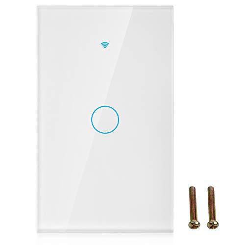 Panel de interruptores WiFi, Interruptor WiFi de Vidrio Templado, Control de Voz, 22 Idiomas, certificación Profesional, hogar para la Escuela(White, U.S. regulations)